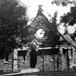 Lighting struck in 1908 and destroyed much of the stone church.  The present day structure was erected using the original walls.