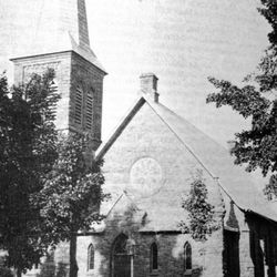 After the fire destroyed the White Church in 1887, a stone church was built in its place.
