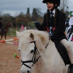 Erin and Chummie as Thelwell Pony and Rider.