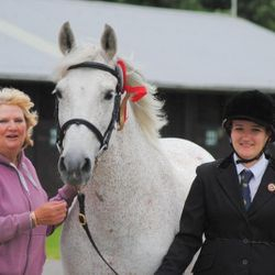 Jane, Nero and Emma after Nero placed 1st in the in-hand Iberian Class at the Three Counties Showground