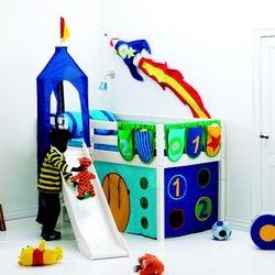 轉角型 城堡 溜滑梯 中床兒童房    尺寸: 210 長X 204 寬X 123 CM高