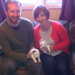 Mairi and Jon with Queenie and Kipper