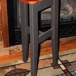 Pine three legged bar stool with Mahogany seat