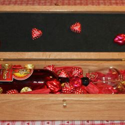 Gift Box with wine, glasses and chocolates