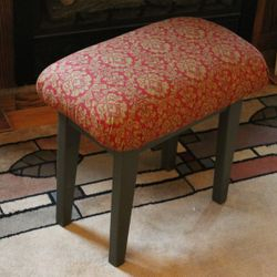 Pine, upholstered stool