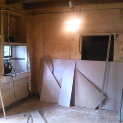 The start of a basic kitchen