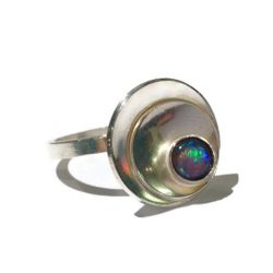 hand made silver and opal domed ring - Unique hand made jewellery
