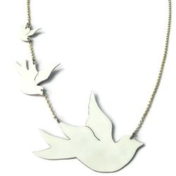 Hand made aluminium and silver flying dove necklace - Unique hand made jewellery