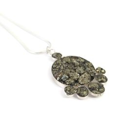 Hand made silver and pyrite necklace - Unique hand made jewellery