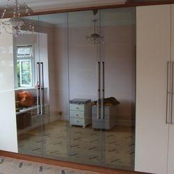Mirror and cream gloss door wardrobe