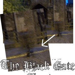 A black misted shape moves up the road at the Black Gate in Newcastle on the Newcastle Ghost Walks