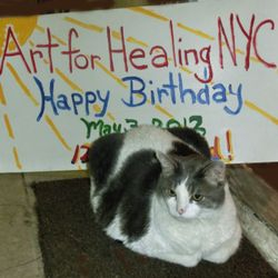 Kismet with AfH Birthday sign (2013).