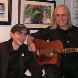 Musician Tim Young and his son.