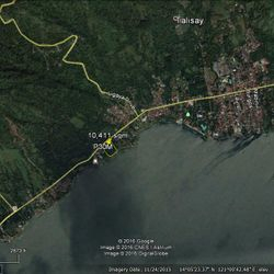 Google map location of Talisay Batangas, resort property for sale along Taal Lake shoreline.
