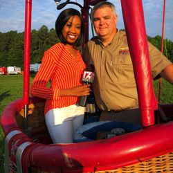 All smiles after catching the sunrise from above for the Fuquay-Varina ballon fest.
