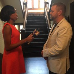 Beairshelle interviews one-on-one with ResponsibleOhio Executive Director Ian James, hours before the polls close. James' organization looks to legalize marijuana in Ohio.