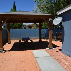 Gazebo with Picnic Table & Solar Light