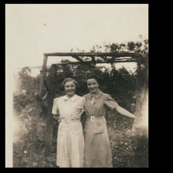 Mary and Josie Soden, sisters, in the back garden of Sodens in Main Street, Cavan 1938