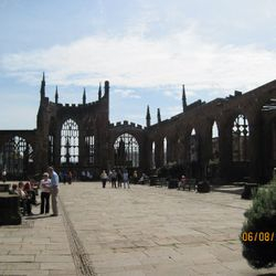 Ruins of Coventry Cathedral bombed in WW2