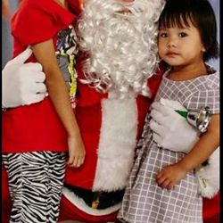 Caucasian Santa posing for a photo