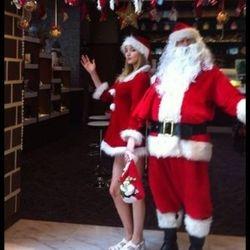 Caucasian Santa Claus and Santarina