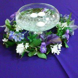 Raised Flat Fishbowl with greenery floral wreath