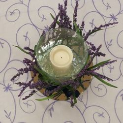 Large glass cylinder with flicker pillar candle, mirror, and lavender tied on outside