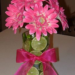 Cylinder vase with floral and limes