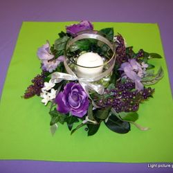 Cone vase with floral wreath and pillar candle