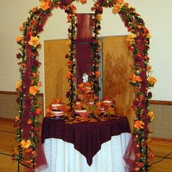 "Cinderella Gazebo, fall leaves and floral - 48"" round cake table"