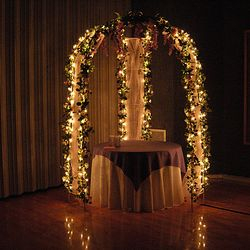 "Cinderella Gazebo - 48"" round cake table, room lights dimmed"