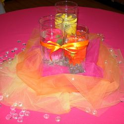 Cylinder vases with floating floral and tulle