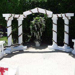 Roman Columns with lighted ivy - outdoor setup