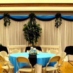 Roman Columns package - food service area with added fabric panel backdrop