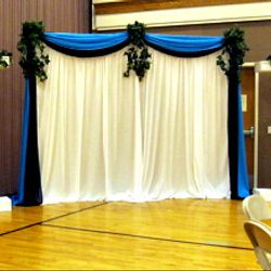 Roman Columns package - main backdrop with added fabric panel backdrop (double scallop)