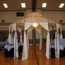 "Covered Wrought Iron Gazebo - food service area - 30"" round standard and cabaret height tables"