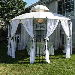 "Covered Wrought Iron Gazebo - food service area - 60"" round table"