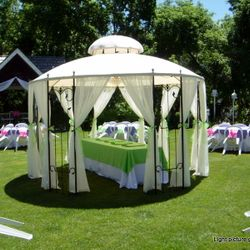 Covered Wrought Iron Gazebo - food service area - 8' banquet table