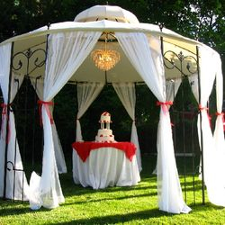 Covered Wrought Iron Gazebo - cake display