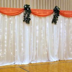 Fabric Panel Backdrop with twinkle lights