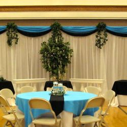 Roman Columns Package with added fabric backdrop (double scallop)