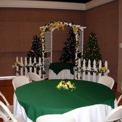 """7' 6"""" tall green pine trees used with Garden Arbor package"""