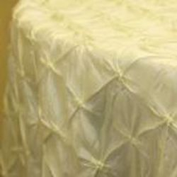 "Ivory Pinched Wheel Taffeta - 120"" round only"