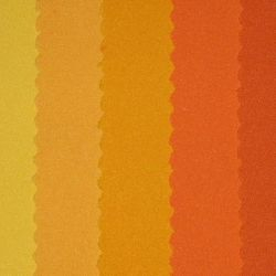 (left to right) Pale Yellow, Yellow, Mango, Tangerine, Orange, Dark Orange, Rust