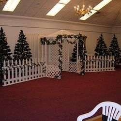"7' 6"" tall green pine trees used with White Lattice Gazebo and 8' long picket fence panels - main backdrop area"