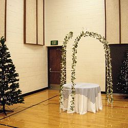 "7' 6"" tall green pine trees used with Cinderella Gazebo - normal room light"