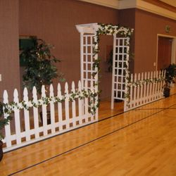 White Cedar Arbor with picket fence