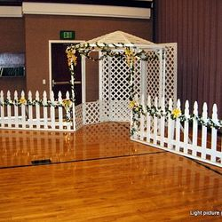 White Lattice Gazebo used for main backdrop (upgrade to package)