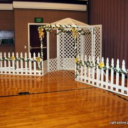 White Lattice Gazebo with picket fence - main backdrop