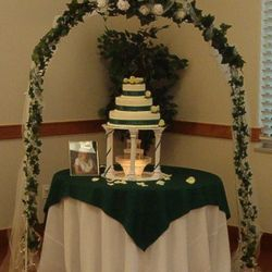 White Wedding Arch - cake table